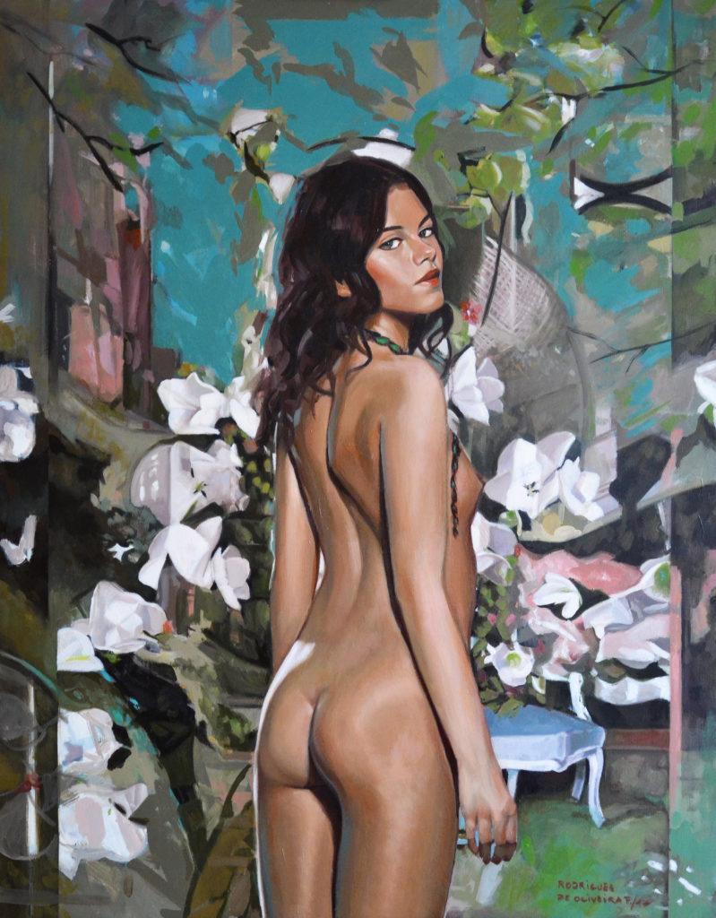 Flore (92-73 cm), huile sur toile, 2017